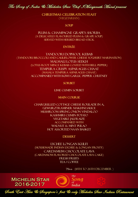 Christmas 2017 veg menu